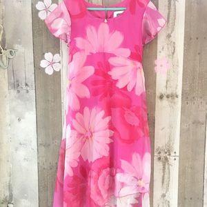 Dress Floral Pink Hi-Lo Size 7 Hana